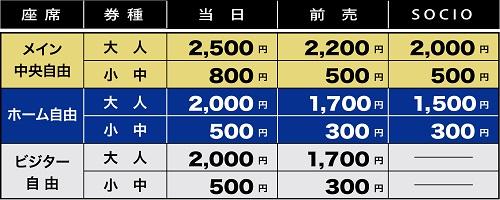 2017年J3チケット価格表1 9/16(土)仙台戦 【U 23】長野戦チケット販売について